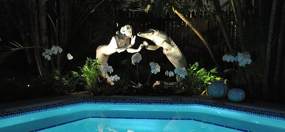 Mermaid pool at night